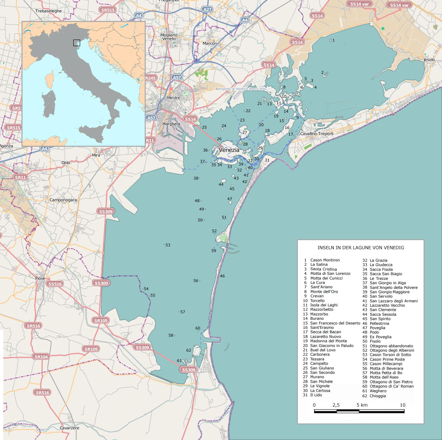 Venedig Karte.Lagune Von Venedig Wikipedia