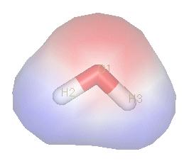 水是极性化合物。由于氧原子强烈的电负性,电子对明显偏向氧一侧,因此氧周围聚集负电荷(红色部分),氢原子周围聚集正电荷(蓝色部分)。