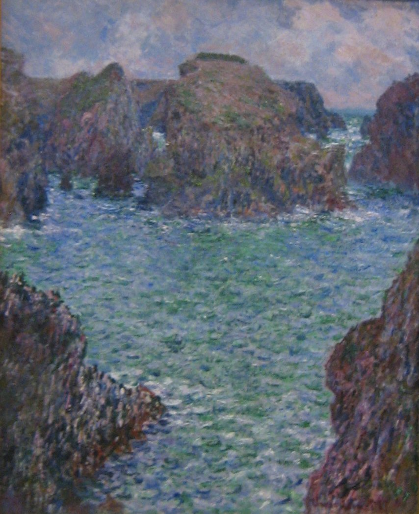 File 39 port goulphar belle le 39 oil on canvas painting by for Claude monet artwork