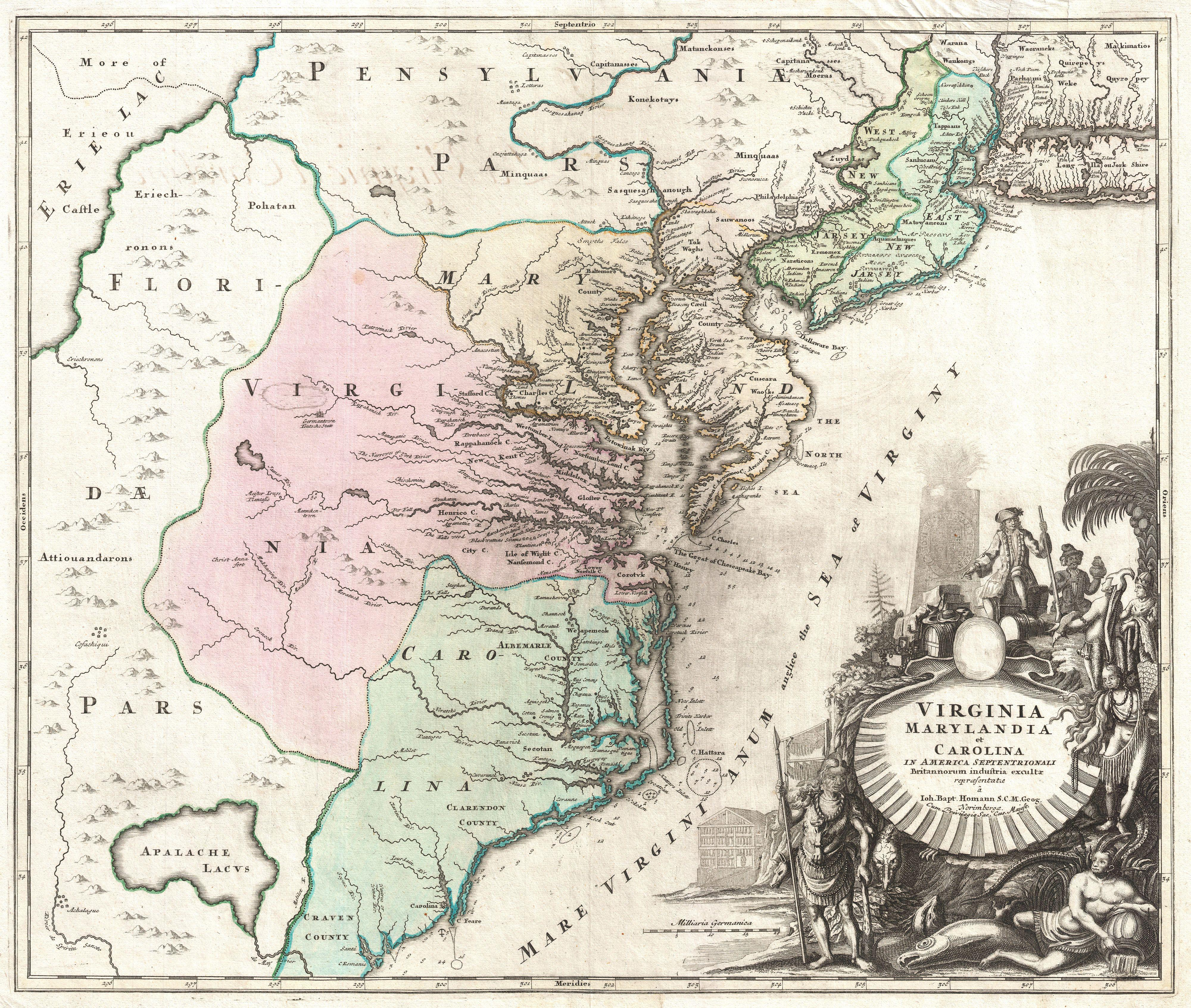 File:1715 Homann Map of Carolina, Virginia, Maryland and New Jersey -  Geographicus