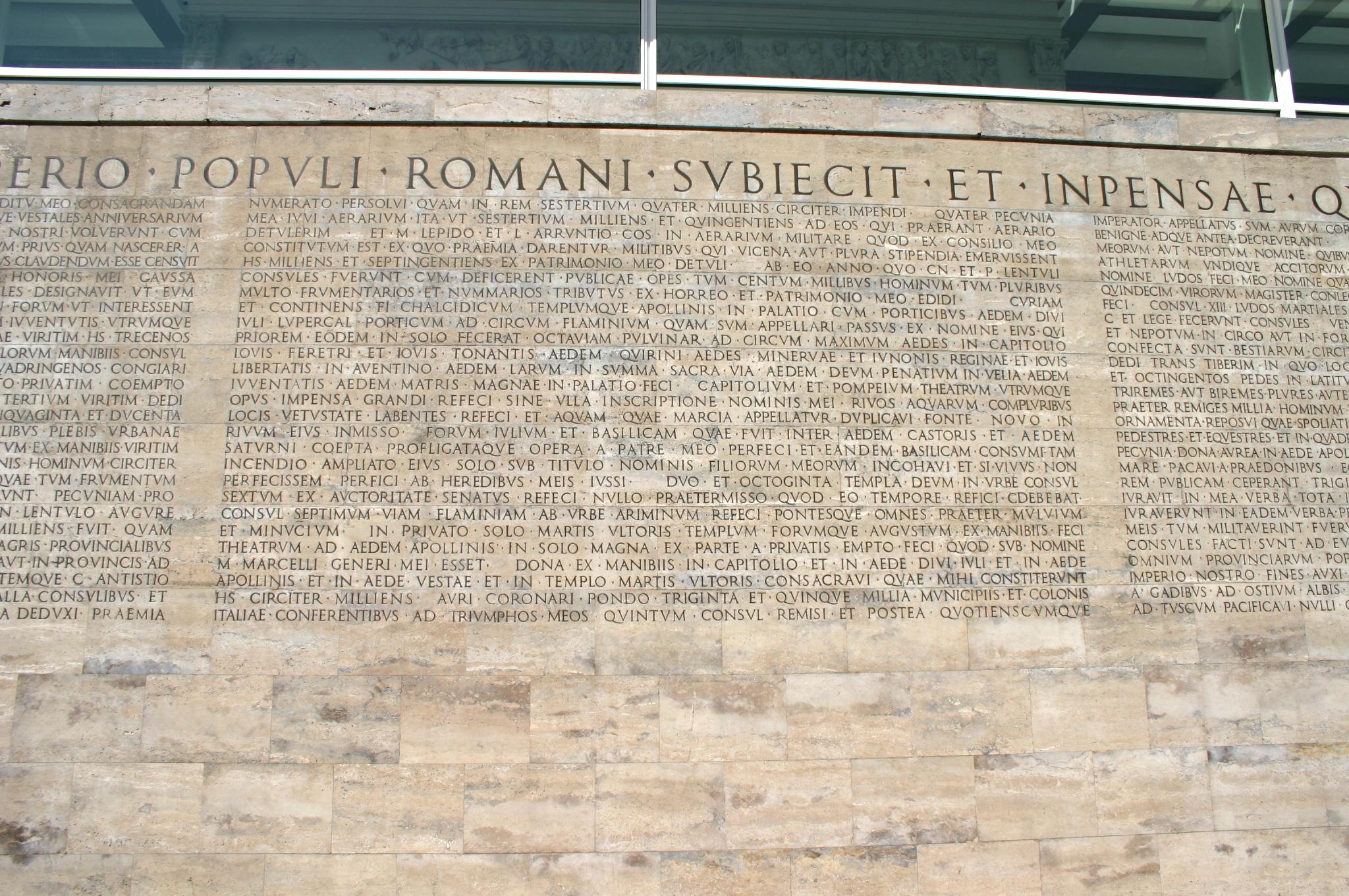 File 8165 roma testo monumentum ancyranum presso ara pacis foto giovanni dall 39 orto 29 mar - Res gestae divi augusti pdf ...