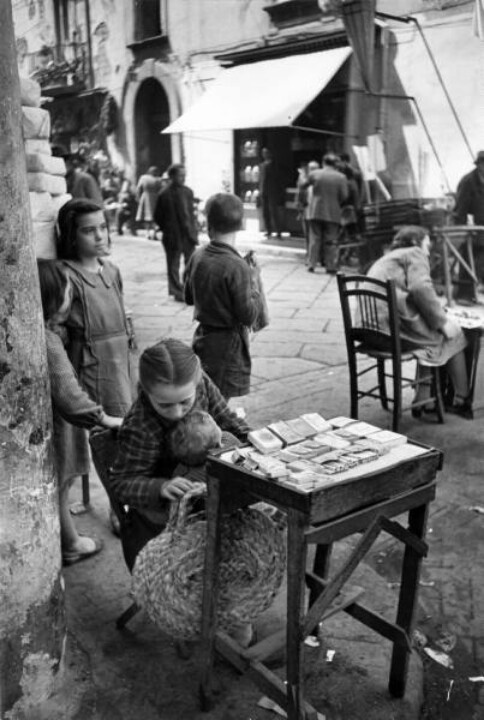 File A Girl Cigarette Vendor Naples Italy 1947 Jpg