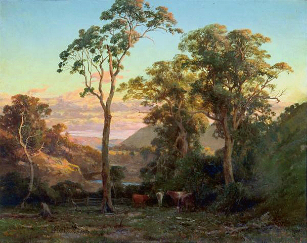 Ficheiro:Abraham Louis Buvelot - Near bacchusmarsh, sunset on the werribe - 1876.jpg