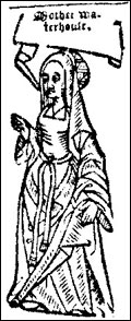 Woodcut of Agnes Waterhouse the first person to be executed as a witch in England. c1566