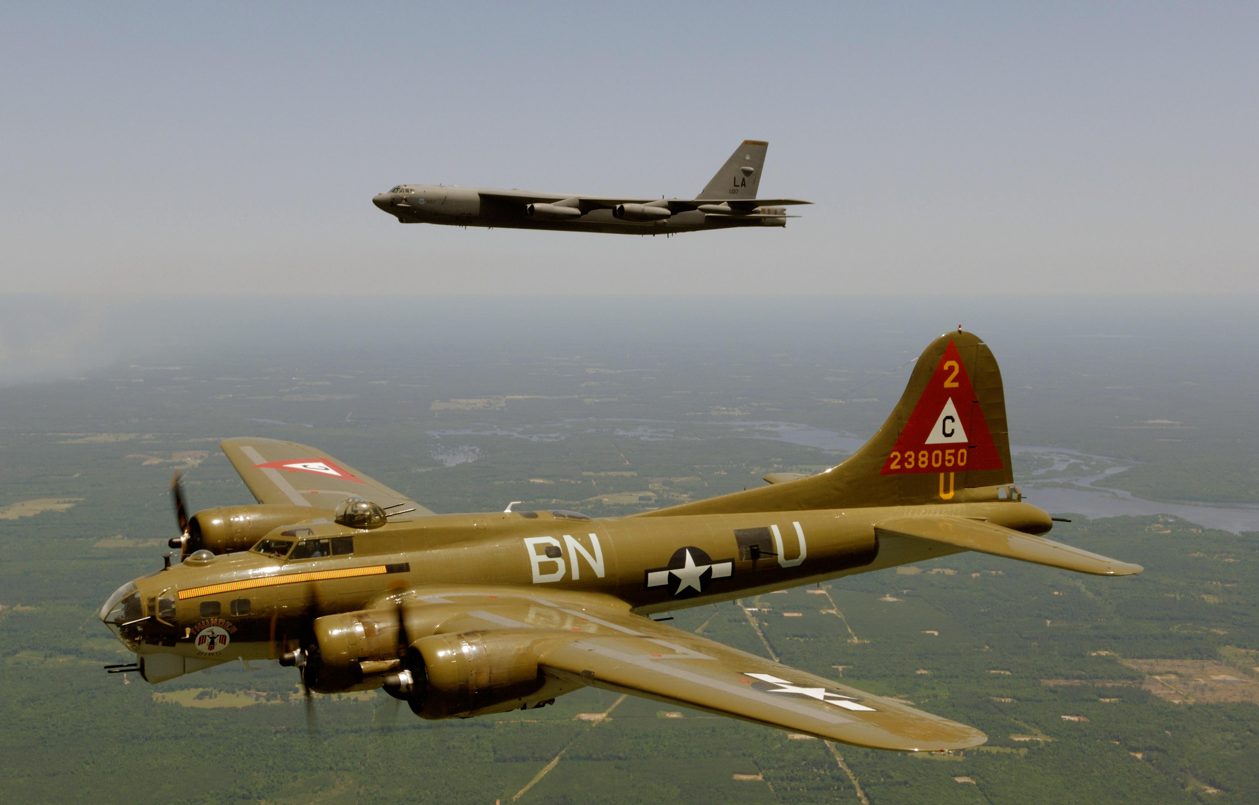 Description b17g and b52h in flight jpg