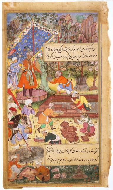 Mughal Emperor Babur Supervising The Creation Of A Garden