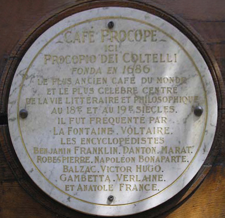 Cafe Procope plaque