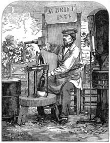 Corking a Champagne Bottle: 1855 engraving of the manual method