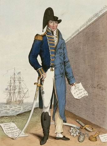 A caricature created in 1815 titled Things as they have been. Things as they now are. The left side of the image depicts Cochrane as a heroic naval officer. The right side depicts him as a disgraced civilian imprisoned within the walls of the King's Bench Prison.