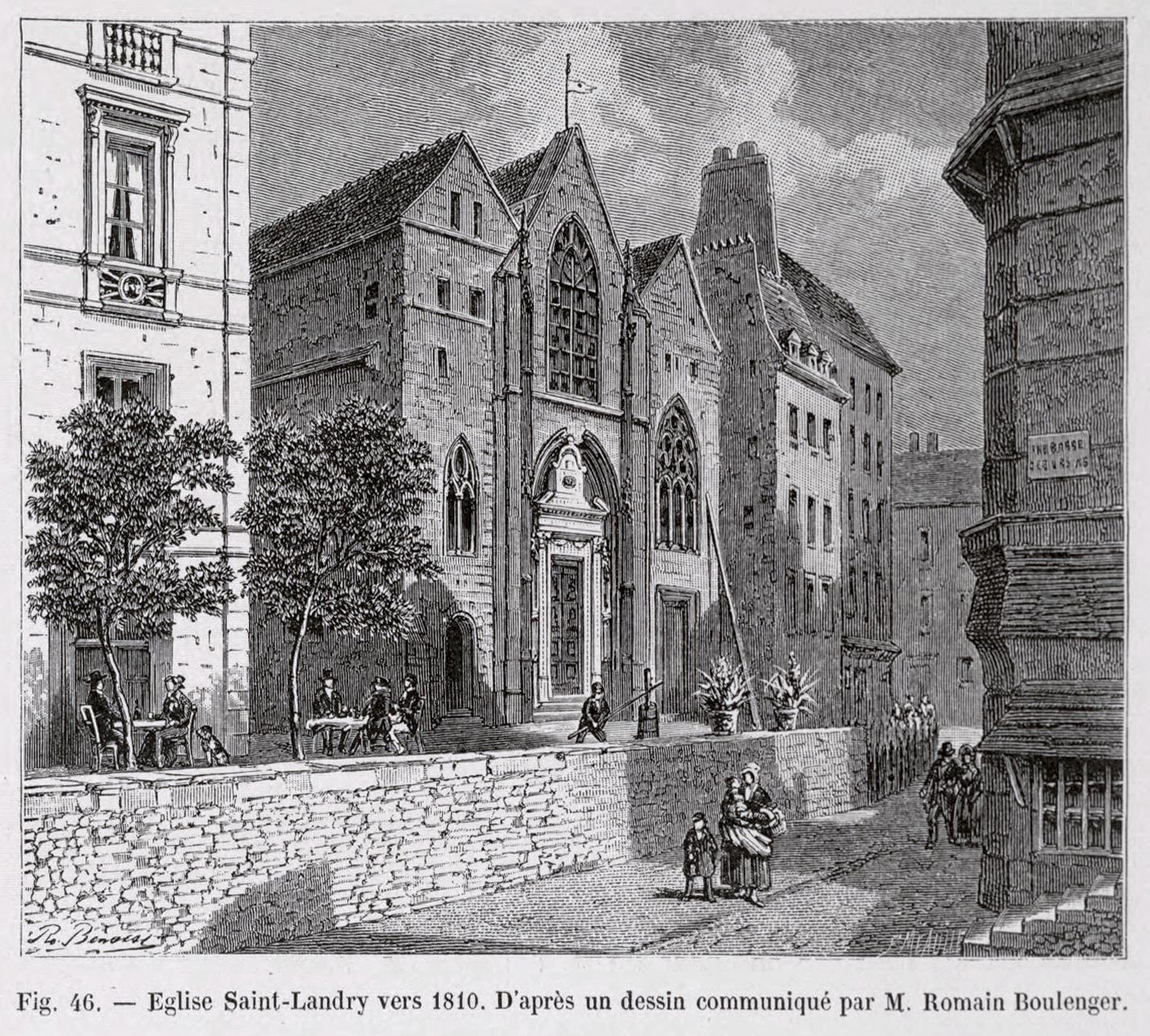 Fichier eglise saint landry vers 1810 d 39 apr s un dessin - Eglise dessin ...