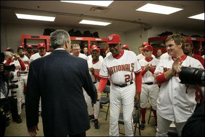 7afa5f581f5 File George W. Bush in Washington locker room at Nationals home opener 2005-