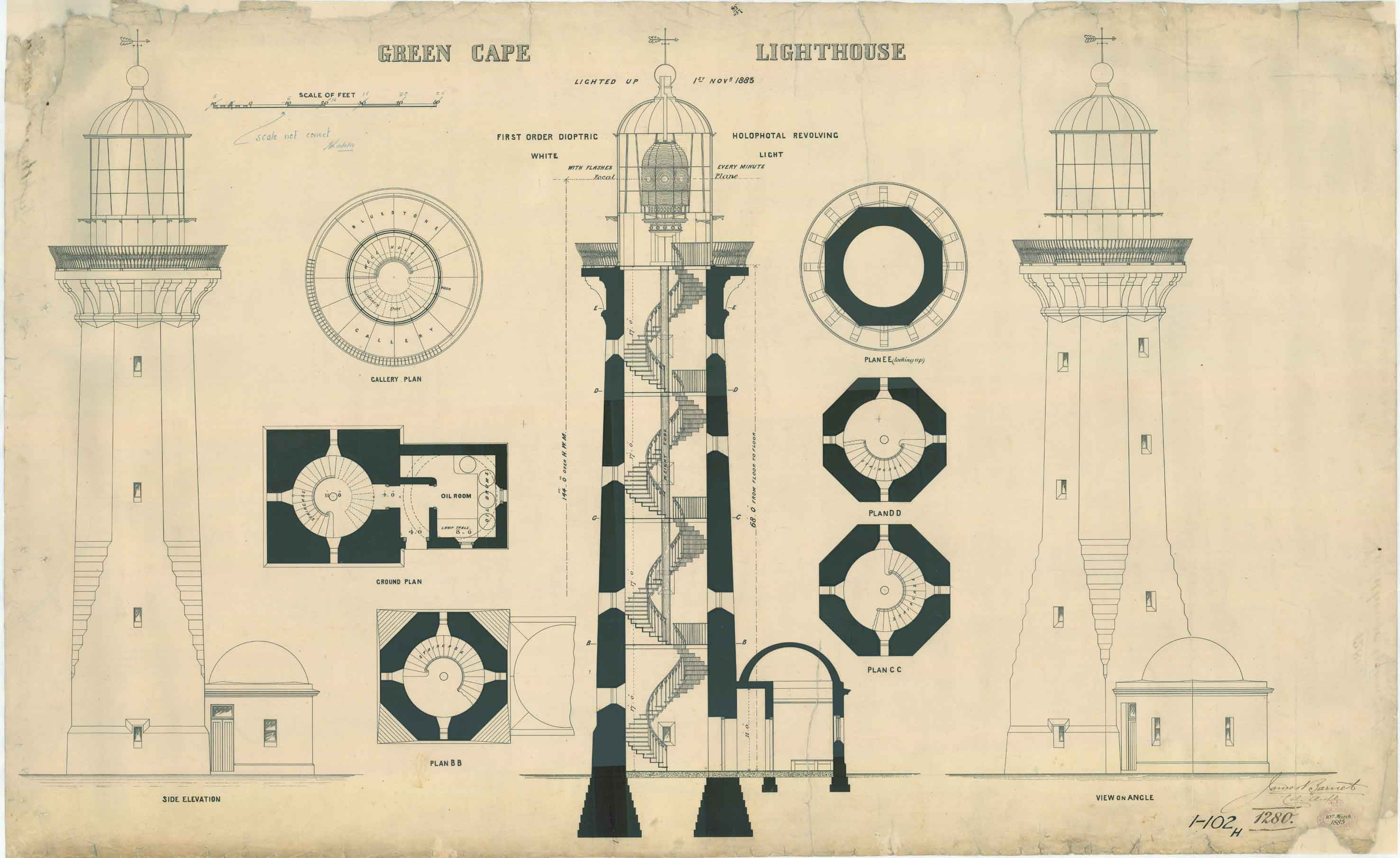 File Green Cape Lighthouse Plans 1885 Jpg Wikimedia