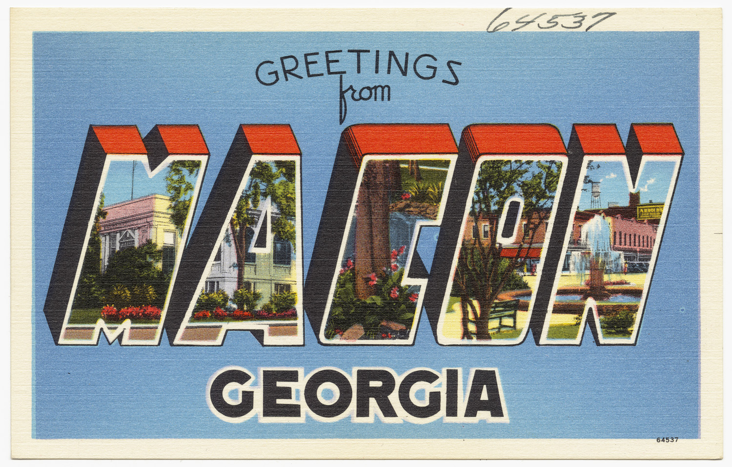 """Greetings from Macon, Georgia"" postcard"