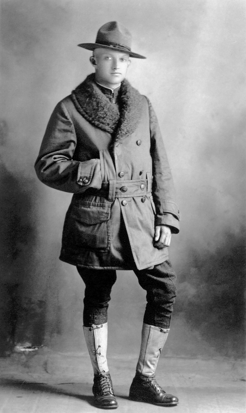 Portrait of Hugh A. Ball during his enlistment in the US Army as a WWI soldier