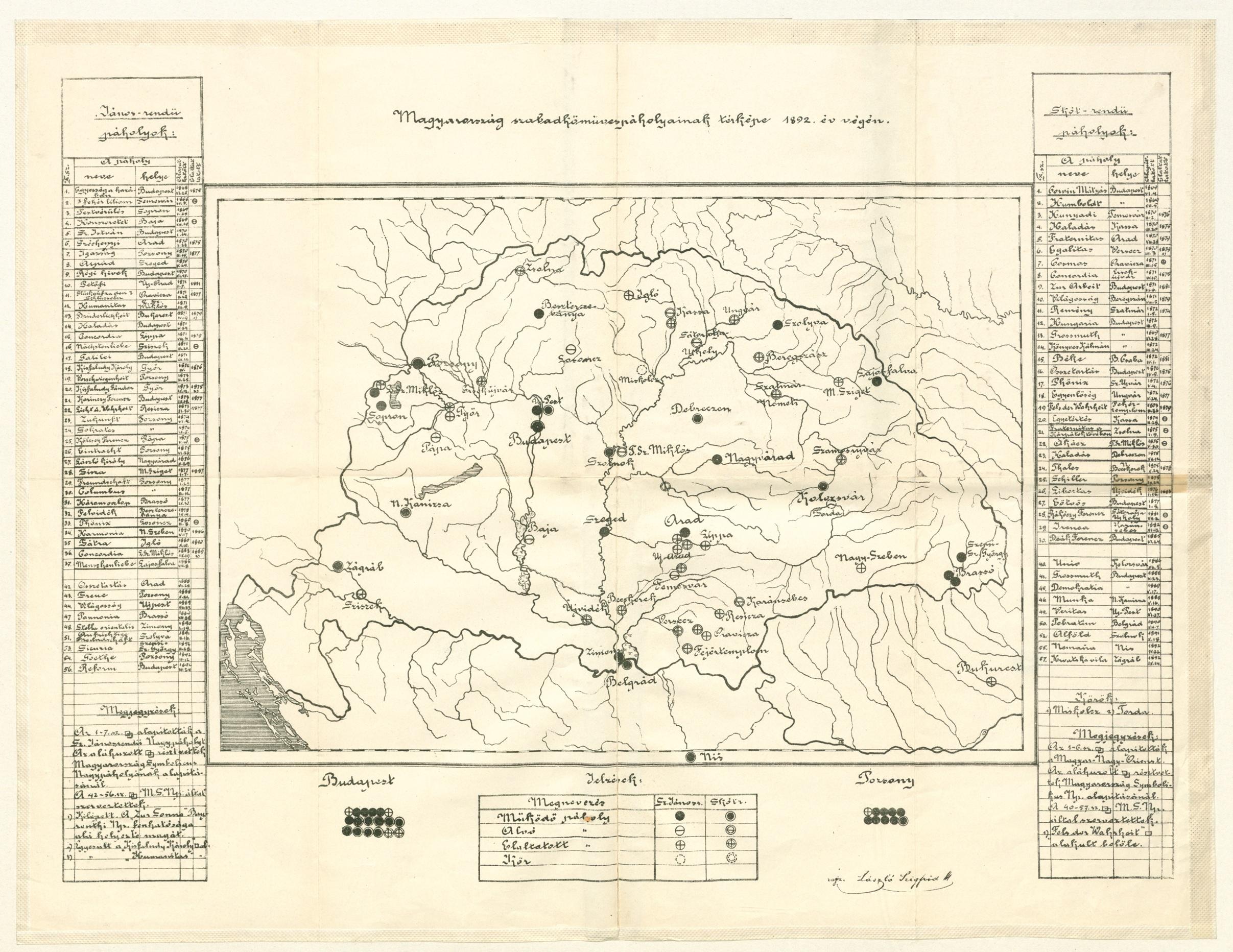 László Szigfrid - Magyarország szabadkőműves páholyainak térképe 1892. év végén