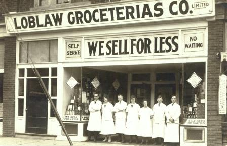 image Loblaw Groceterias Co Sepia print  white uniformed women  under We sell for less bane