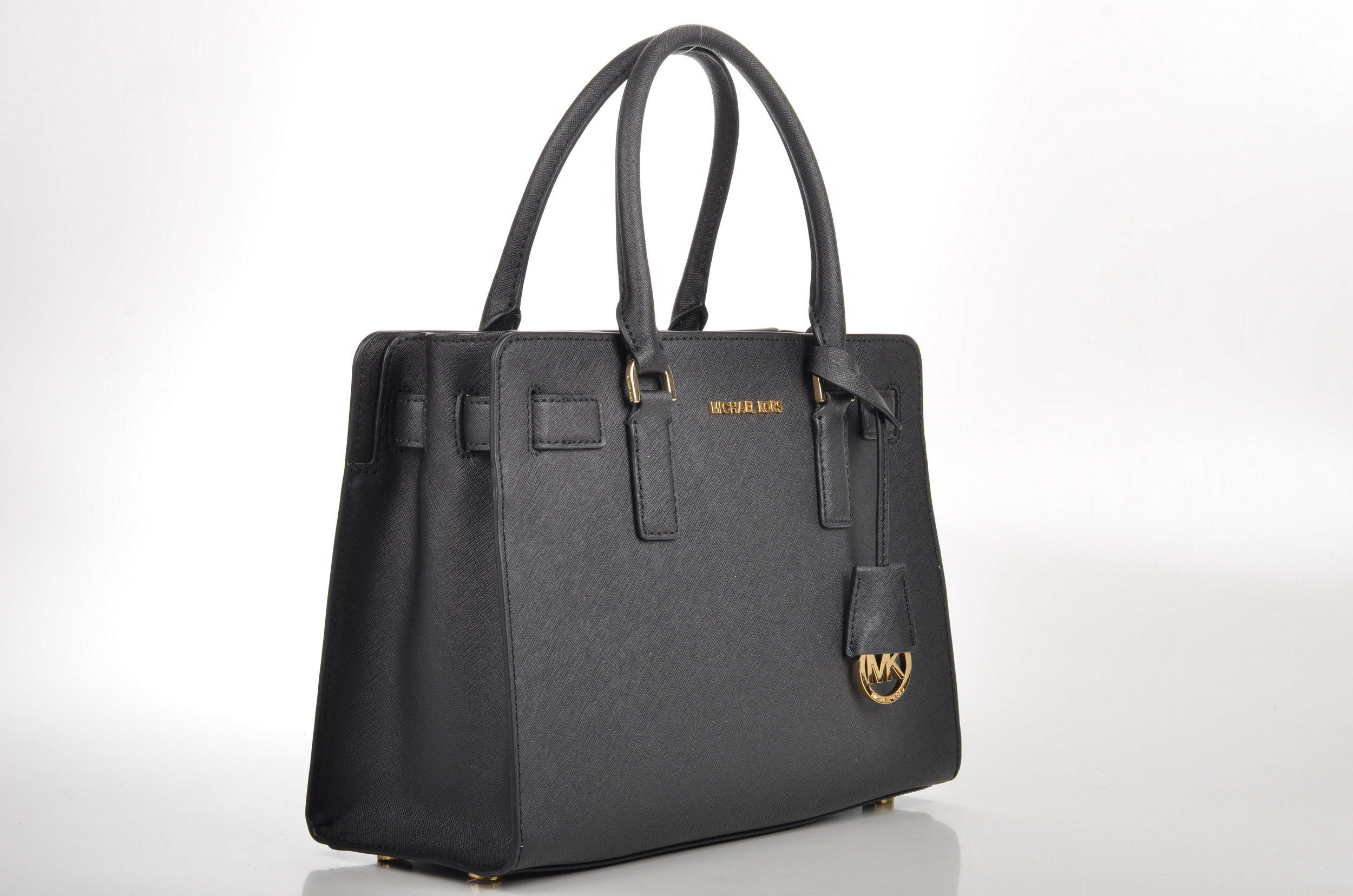 file michael kors dillon ew satchel handtasche 30h4gais3l kalbsleder schwarz gold 2. Black Bedroom Furniture Sets. Home Design Ideas