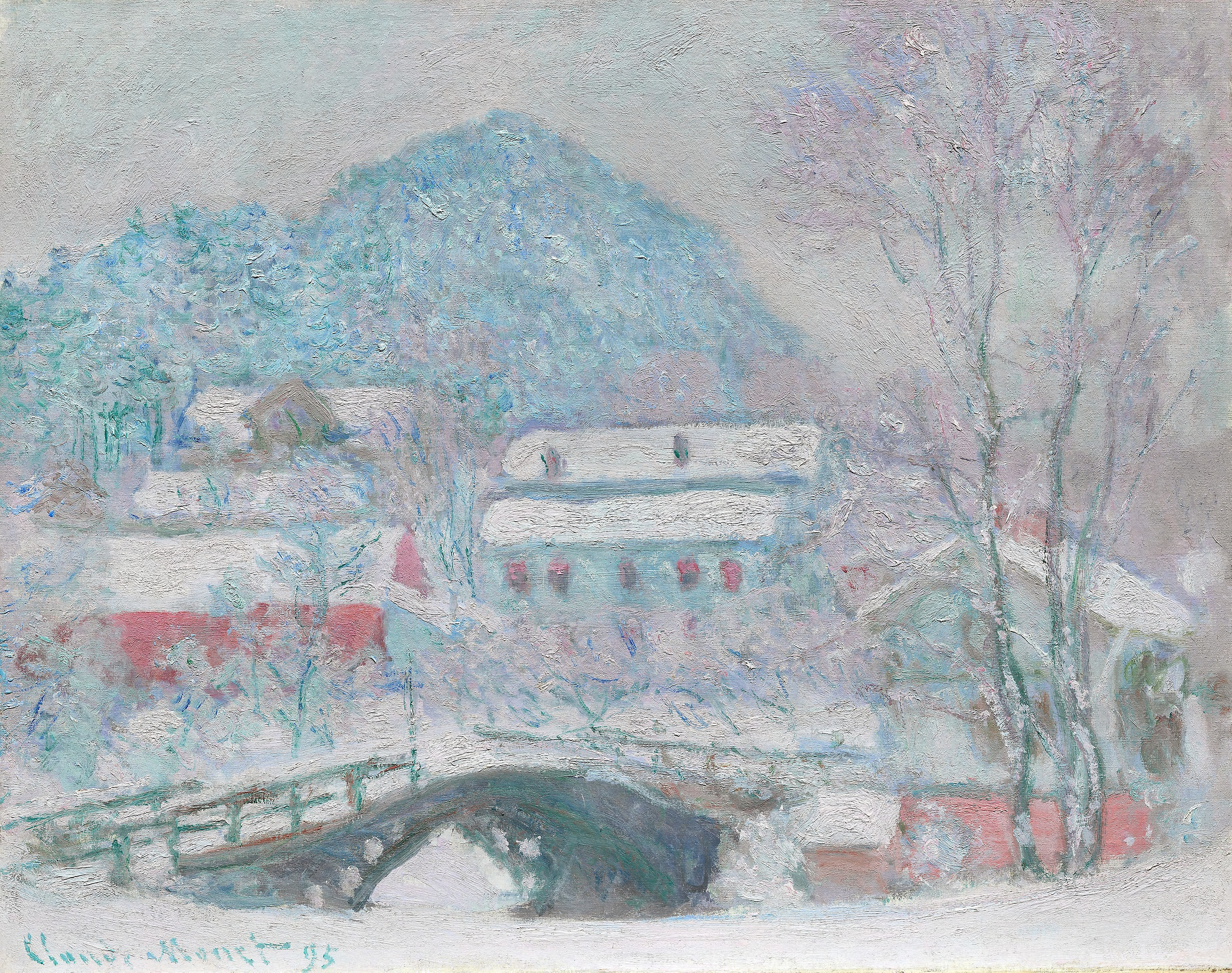 Løkke bro, Sandvika. Oil on canvas, 1895 by Claude Monet