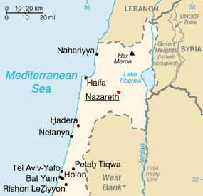 Nazareth on the map of Israel