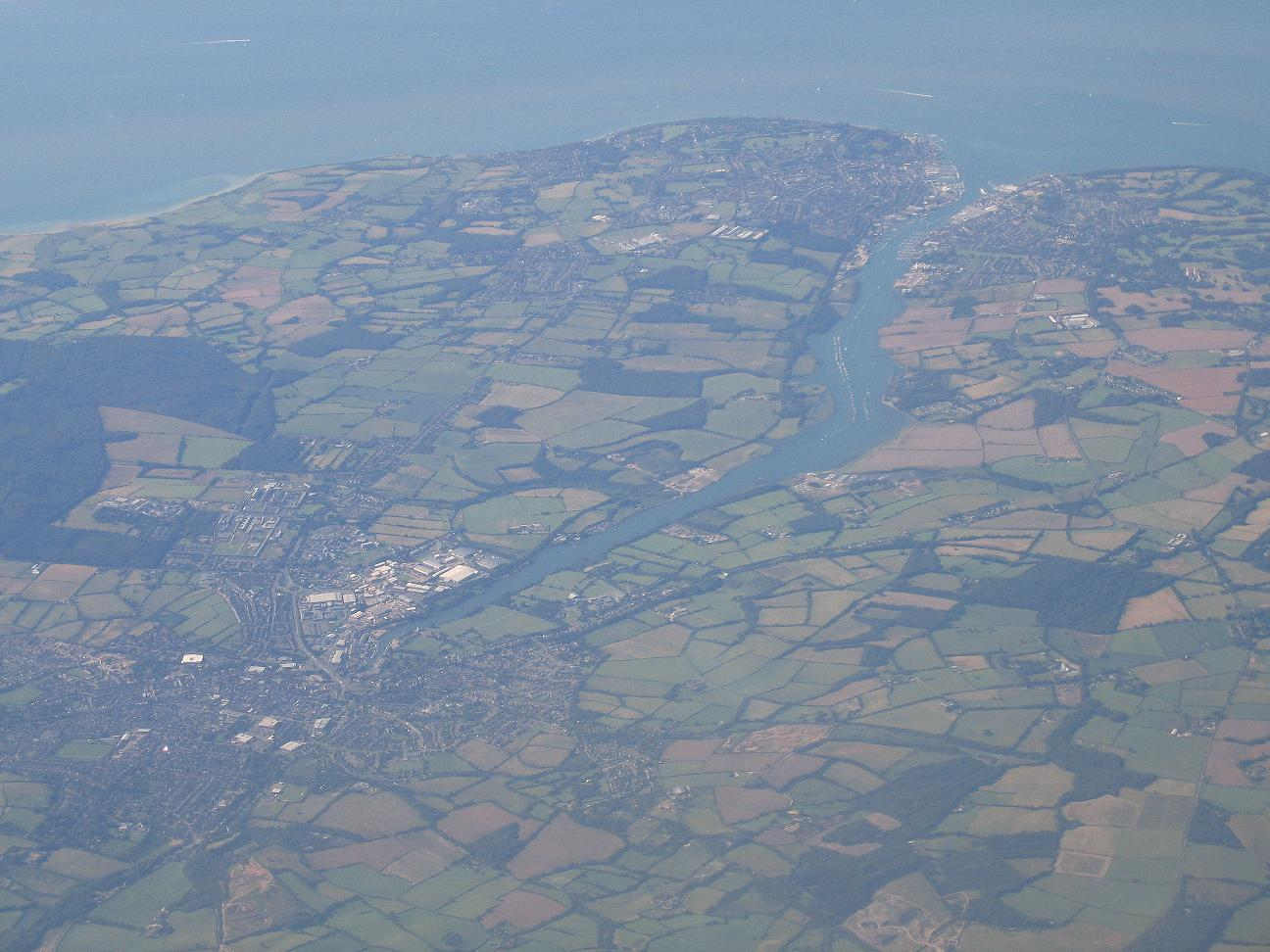 An aerial photograph, showing Newport (bottom left).