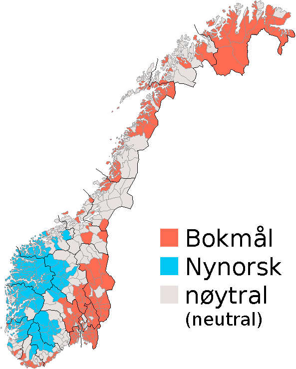 Noruec Wikiwand - Norway language map