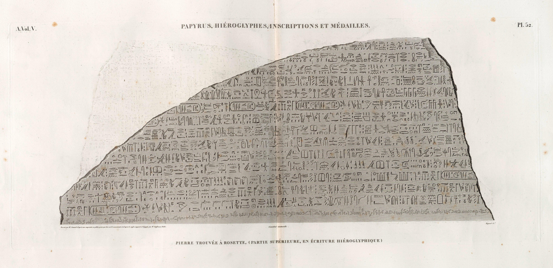 Papyrus, hiéroglyphes, inscriptions et médailles. Pierre trouvée à Rosette, (partie supérieure, en écriture hiéroglyphique) (NYPL b14212718-1268220)