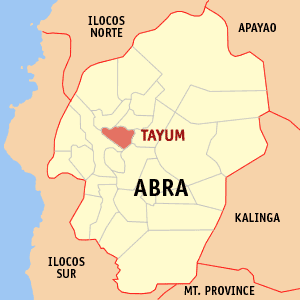 Map of Abra showing the location of Tayum