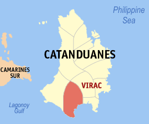 Map of Catanduanes showing the location of Virac