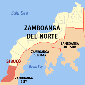 Map of Zamboanga del Norte showing the location of Sibuco