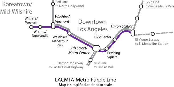 Red Line Los Angeles Subway Map.File Purple Line Map Of The Los Angeles County Metro System Png