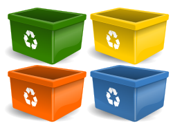 Four recycling bins of different colors - green, yellow, orange, and blue.