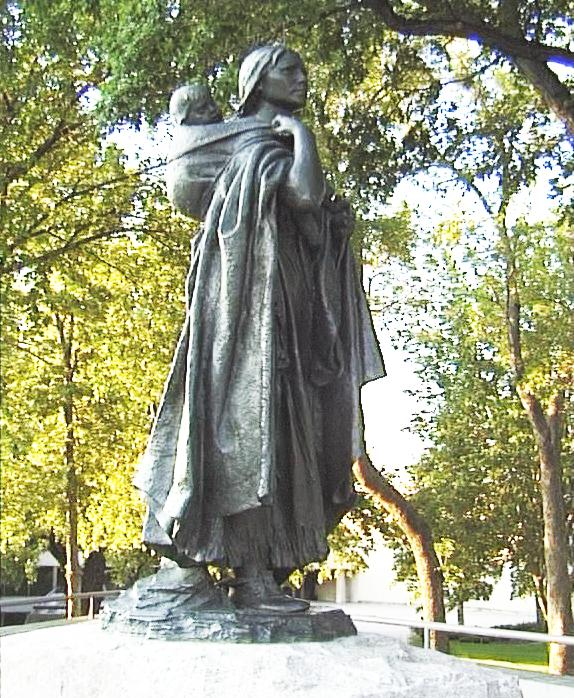 Sacagawea statue by Leonard Crunelle Bismarck ND photo by Hans Andersen Wikimedia Commons
