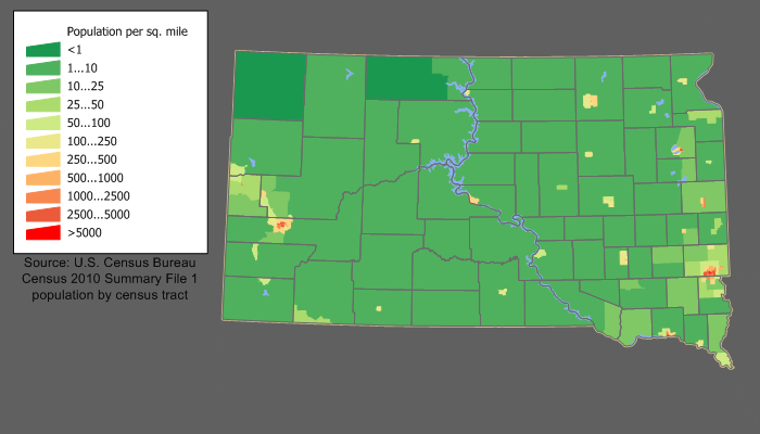south dakota population density map Demographics Of South Dakota Wikipedia south dakota population density map