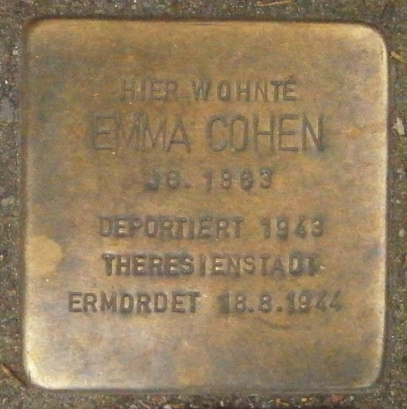 386d8440c0fc Datei Stolperstein Bornstraße 22 (Emma Cohen) in Hamburg-Rotherbaum ...