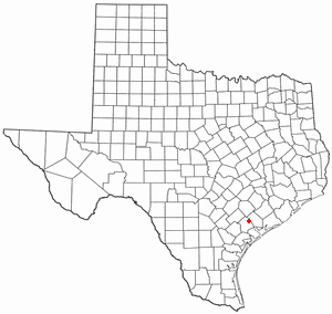 Approximate location of Fort Saint Louis, near Matagorda Bay on the Gulf Coast of Texas TXMap-doton-Inez.PNG