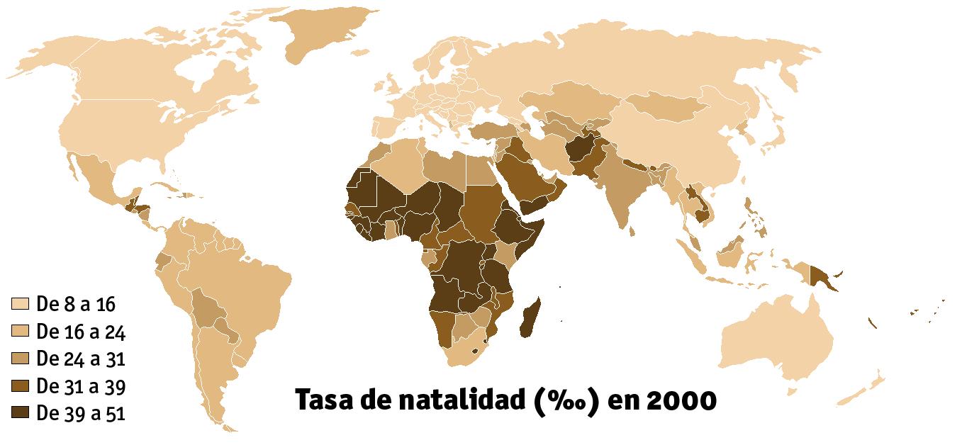 Tasa de natalidad (nacimientos por cada mil habitantes)
