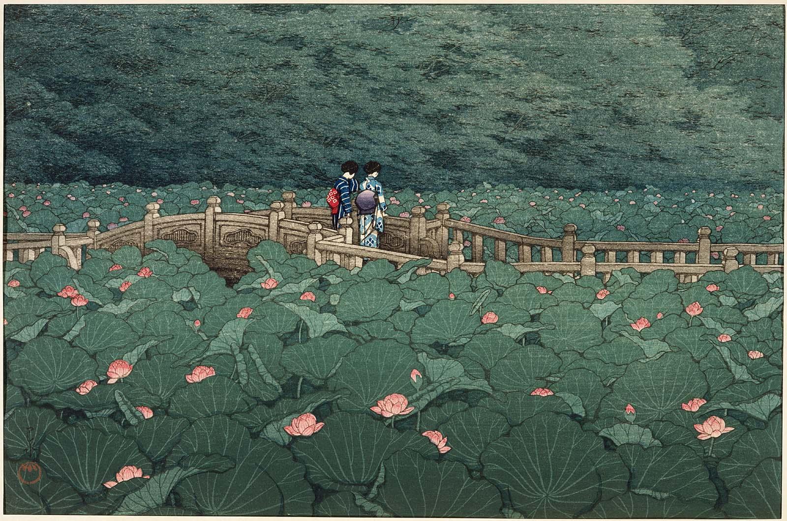 Hasui Kawase - The Pond at Benten Shrine in Shiba (1929)