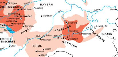 Bauernkriege 1525.Auszug süddeutscher Raum mit Erzbistum Salzburg