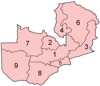 Map of the Provinces of Zambia