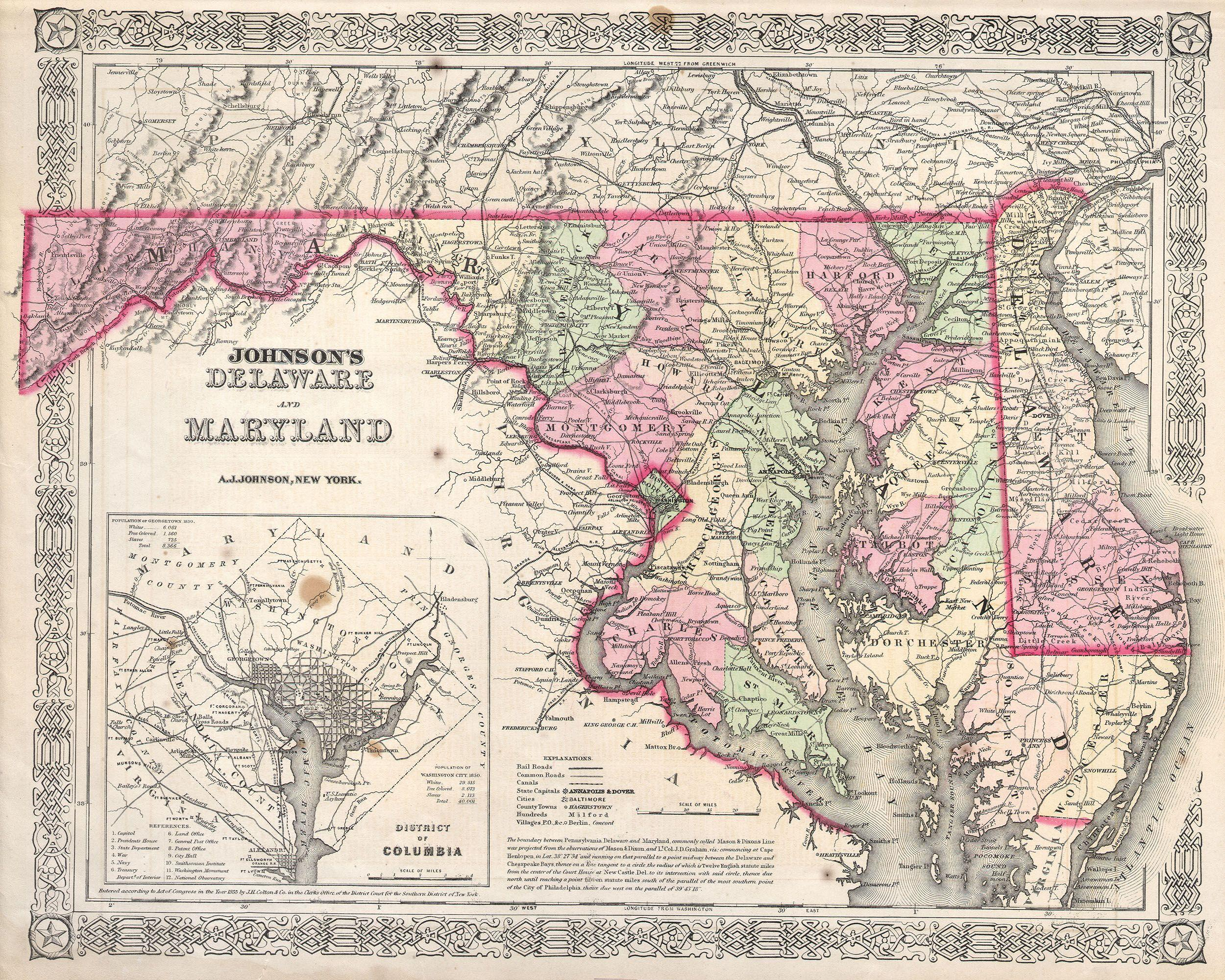 File:1864 Johnson\'s Map of Maryland and Delaware - Geographicus ...