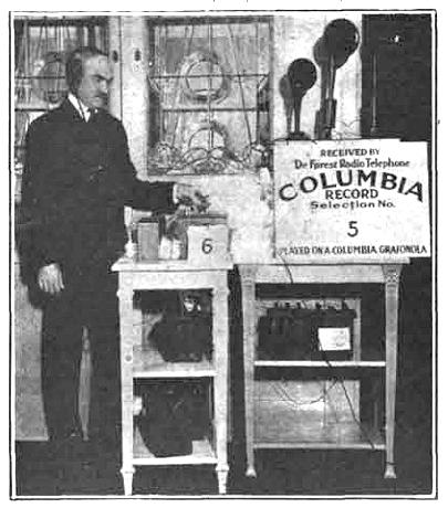 Lee DeForest broadcasting Columbia phonograph records (October 1916) 1916 Lee DeForest Columbia broadcast at 2XG.JPG