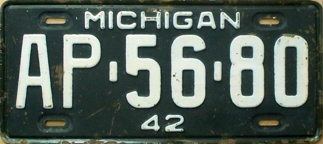File:1942 Michigan license plate.jpg - Wikimedia Commons