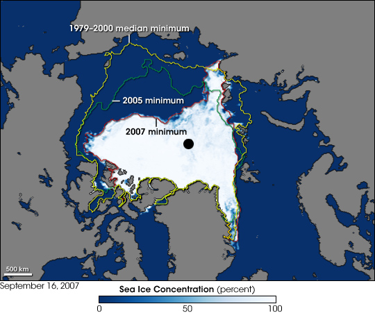 Arctic ice shrinkages of 2007 compared to 2005 and also compared to the 1979-2000 average. 2007 Arctic Sea Ice.jpg