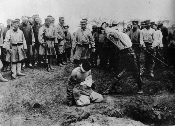 A spy was beheading on the outskirts of Kaiyuan in Russo-Japanese War