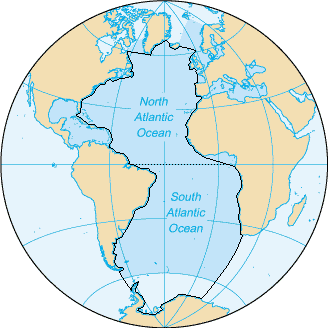 Atlantic Ocean: (bordering) Greenland, Iceland, Ireland, United Kingdom, France, Spain, Portugal