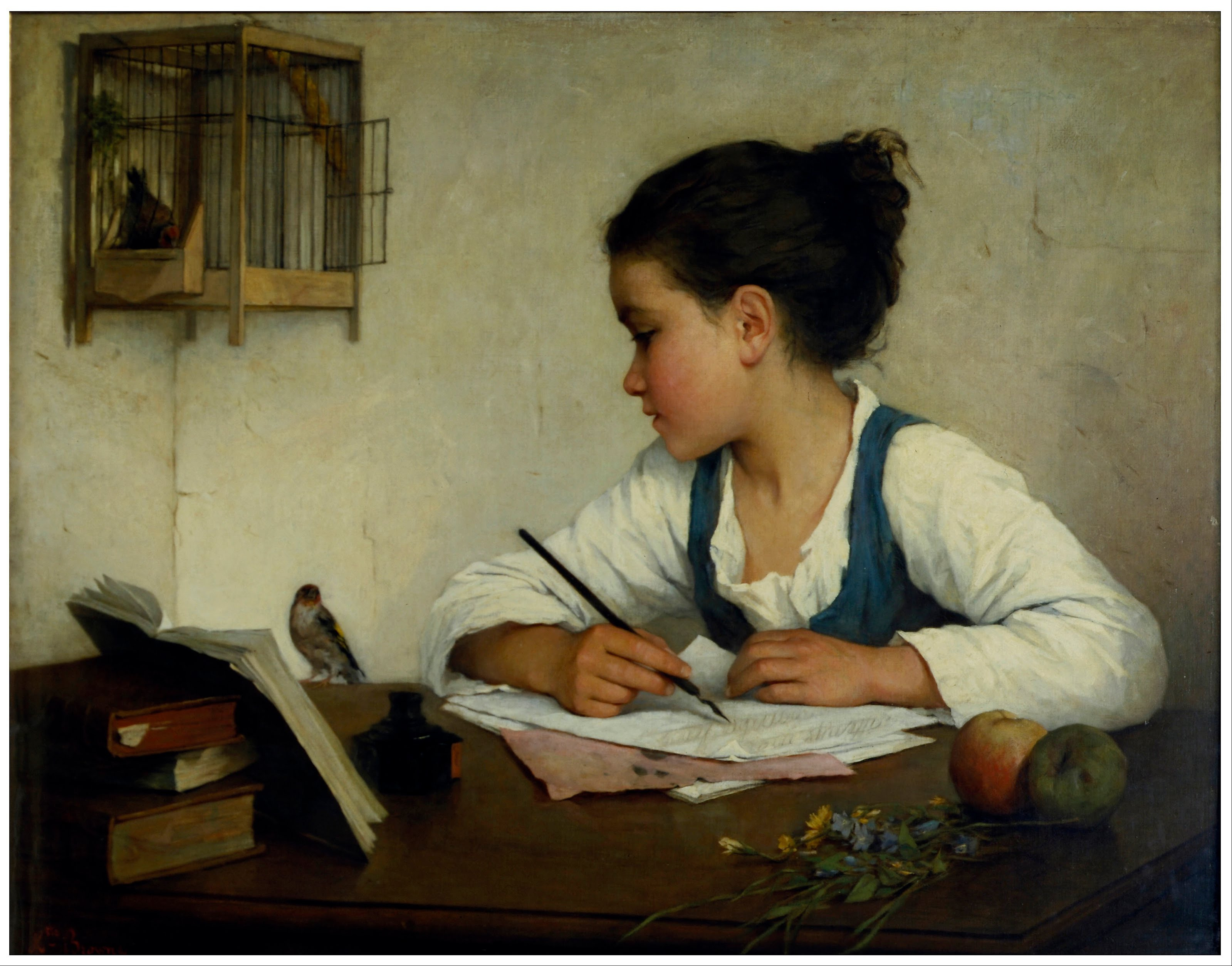 File:Browne, Henriette - A Girl Writing; The Pet Goldfinch ...