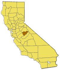 Map of California highlighting Mariposa County