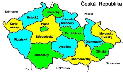 Карта Чехии с раскрашенными регионами