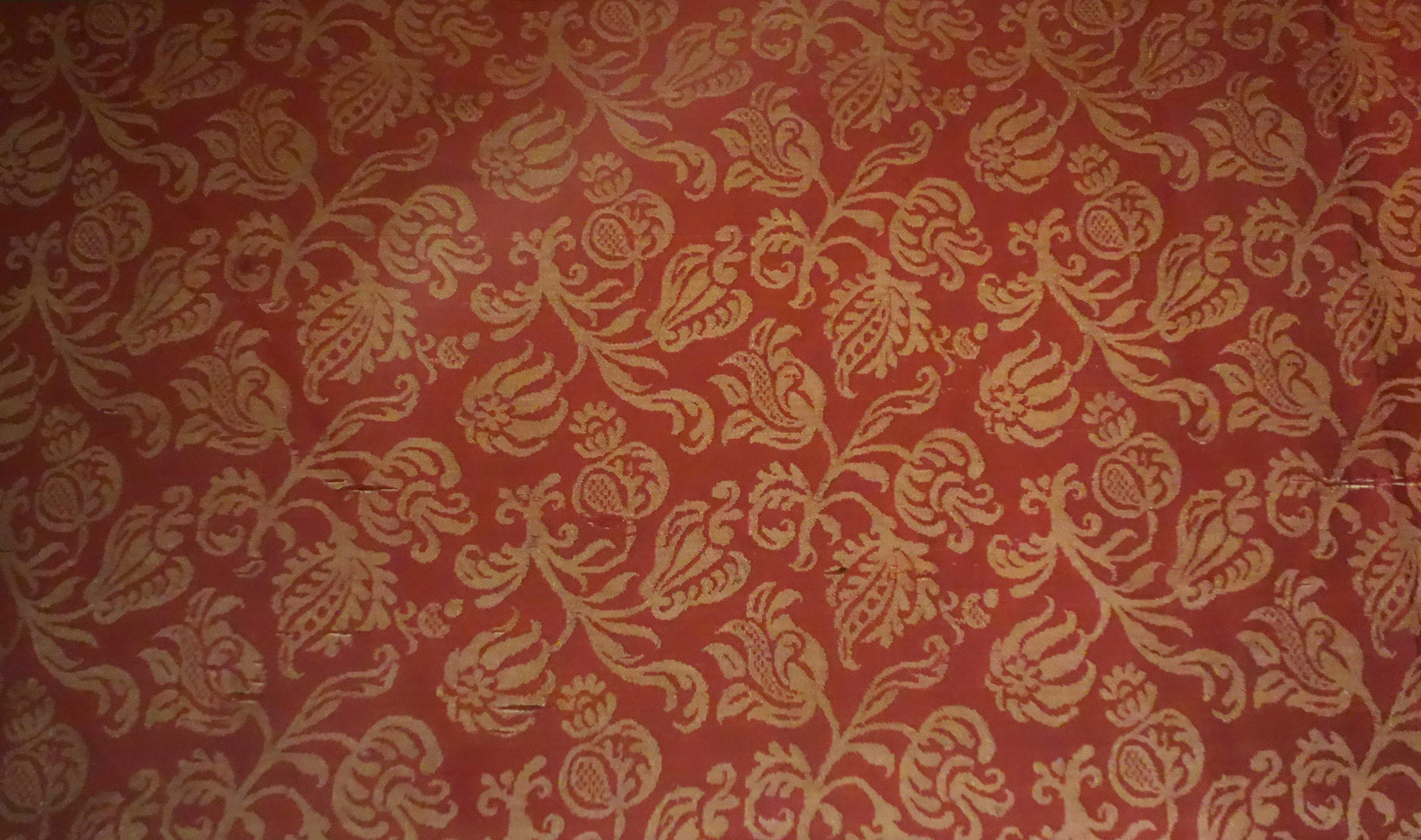 File Damask With Floral Sprigs Italy Baroque 1600 1650