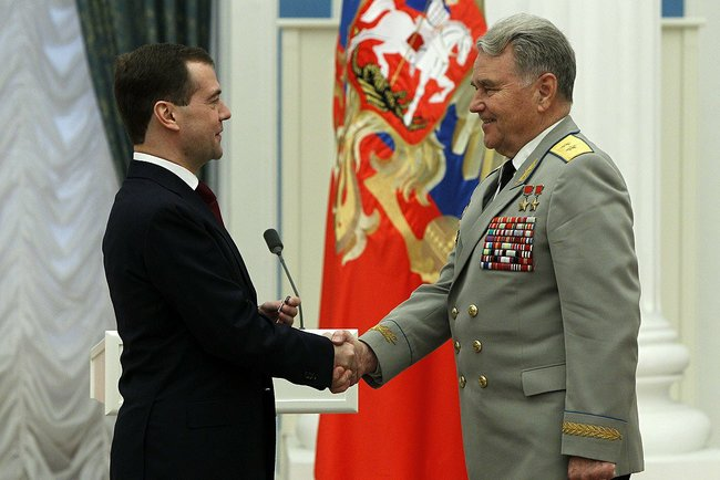 Cosmonaut Vladimir Shatalov receives Russian Order of Friendship 12 April 2011 Photo courtesy of www.kremlin.ru Source: Wikipedia Dmitry_Medvedev_12_April_2011-12.jpeg
